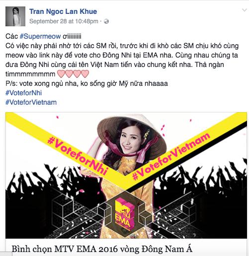 MTV EMA 2016: Mỹ Tâm, Hồ Ngọc Hà cùng loạt sao Việt kêu gọi fan bình chọn cho Đông Nhi - Ảnh 4