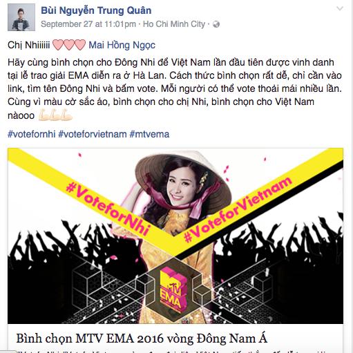 MTV EMA 2016: Mỹ Tâm, Hồ Ngọc Hà cùng loạt sao Việt kêu gọi fan bình chọn cho Đông Nhi - Ảnh 7